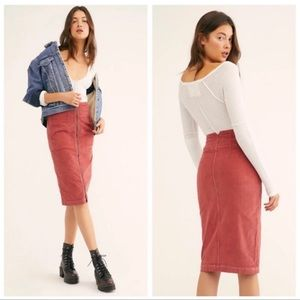 We The Free Free People I Want It All Corduroy Pencil Skirt Size 27